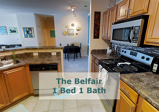Tradition at Stonewater Apartments - The Belfair Kitchen Area