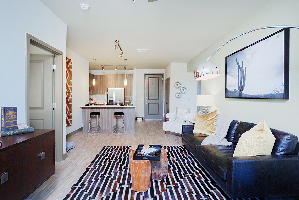 Audere Apartments   Model Home Living Room And Kitchen